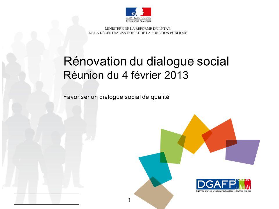 1 Rénovation du dialogue social Réunion du 4 février 2013 Favoriser un dialogue social de qualité