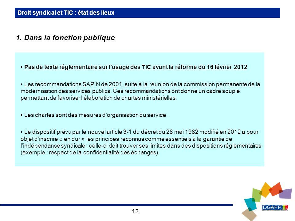12 Pas de texte réglementaire sur lusage des TIC avant la réforme du 16 février 2012 Les recommandations SAPIN de 2001, suite à la réunion de la commission permanente de la modernisation des services publics.