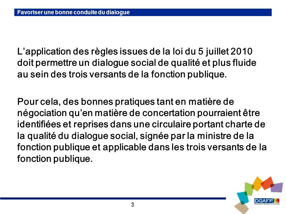 3 Favoriser une bonne conduite du dialogue Lapplication des règles issues de la loi du 5 juillet 2010 doit permettre un dialogue social de qualité et plus fluide au sein des trois versants de la fonction publique.