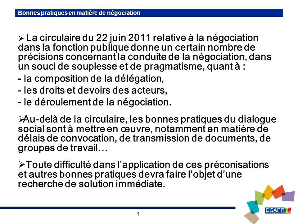 4 Bonnes pratiques en matière de négociation La circulaire du 22 juin 2011 relative à la négociation dans la fonction publique donne un certain nombre de précisions concernant la conduite de la négociation, dans un souci de souplesse et de pragmatisme, quant à : - la composition de la délégation, - les droits et devoirs des acteurs, - le déroulement de la négociation.