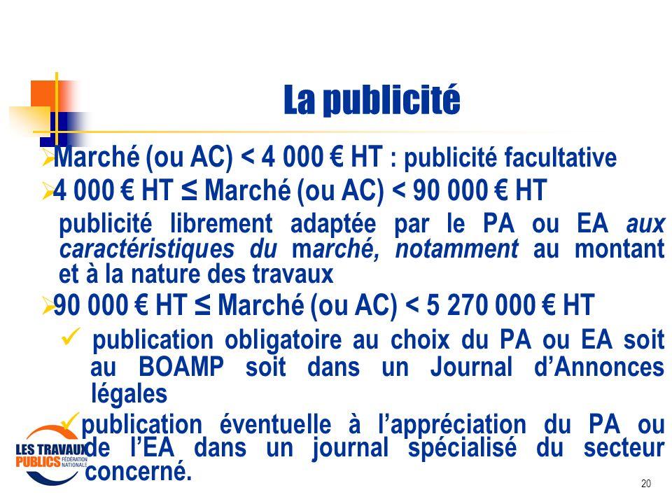20 La publicité Marché (ou AC) < 4 000 HT : publicité facultative 4 000 HT Marché (ou AC) < 90 000 HT publicité librement adaptée par le PA ou EA aux