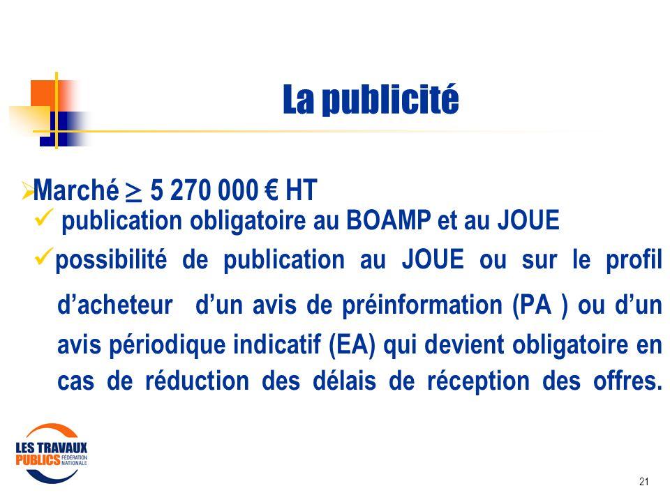 21 La publicité Marché 5 270 000 HT publication obligatoire au BOAMP et au JOUE possibilité de publication au JOUE ou sur le profil dacheteur dun avis