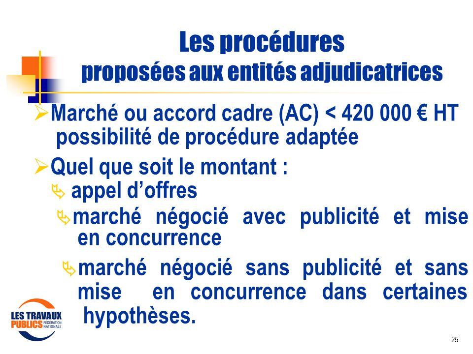 25 Les procédures proposées aux entités adjudicatrices Marché ou accord cadre (AC) < 420 000 HT possibilité de procédure adaptée Quel que soit le mont
