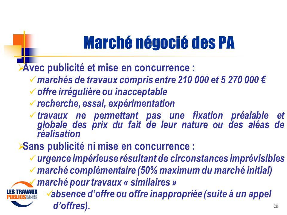 29 Marché négocié des PA Avec publicité et mise en concurrence : marchés de travaux compris entre 210 000 et 5 270 000 offre irrégulière ou inacceptab