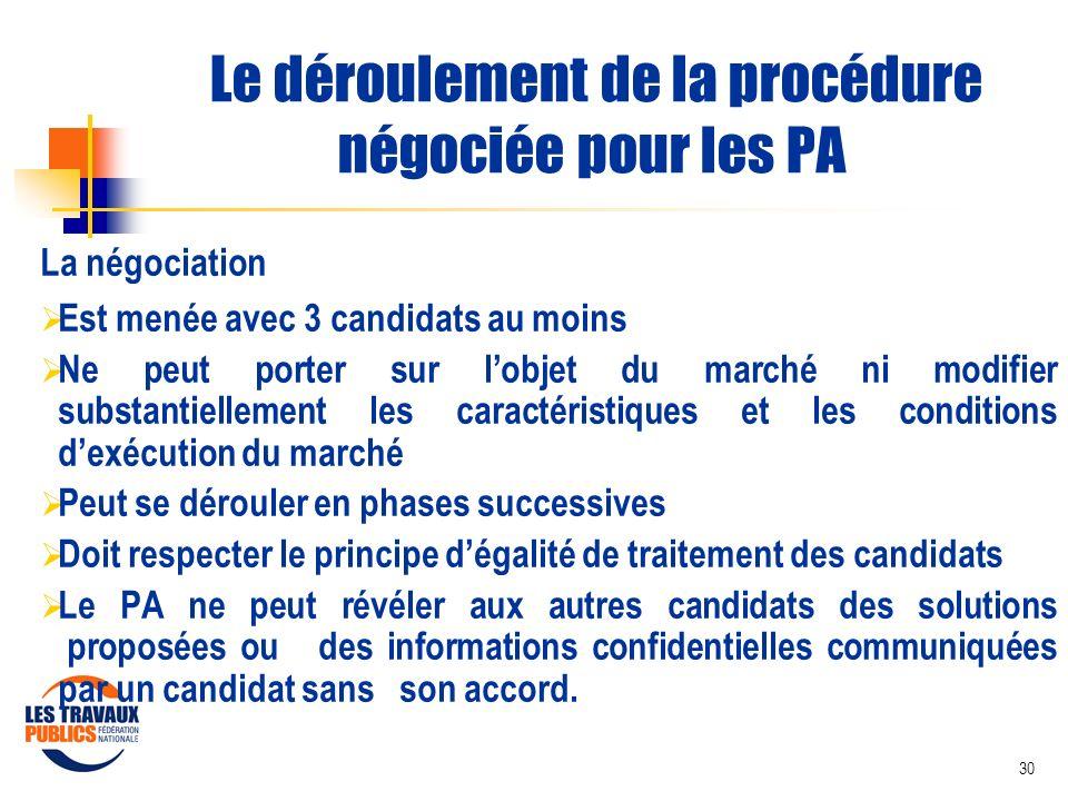 30 Le déroulement de la procédure négociée pour les PA La négociation Est menée avec 3 candidats au moins Ne peut porter sur lobjet du marché ni modif