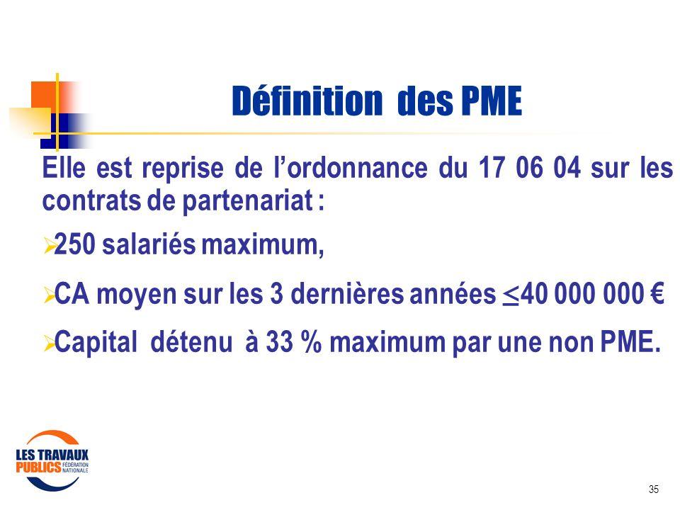 35 Définition des PME Elle est reprise de lordonnance du 17 06 04 sur les contrats de partenariat : 250 salariés maximum, CA moyen sur les 3 dernières