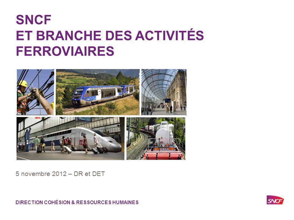 1 SNCF ET BRANCHE DES ACTIVITÉS FERROVIAIRES 5 novembre 2012 – DR et DET DIRECTION COHÉSION & RESSOURCES HUMAINES