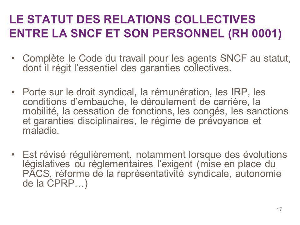 17 LE STATUT DES RELATIONS COLLECTIVES ENTRE LA SNCF ET SON PERSONNEL (RH 0001) Complète le Code du travail pour les agents SNCF au statut, dont il ré