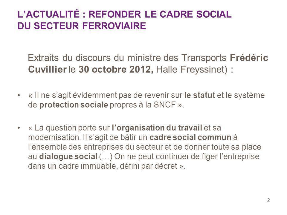 2 LACTUALITÉ : REFONDER LE CADRE SOCIAL DU SECTEUR FERROVIAIRE Extraits du discours du ministre des Transports Frédéric Cuvillier le 30 octobre 2012,
