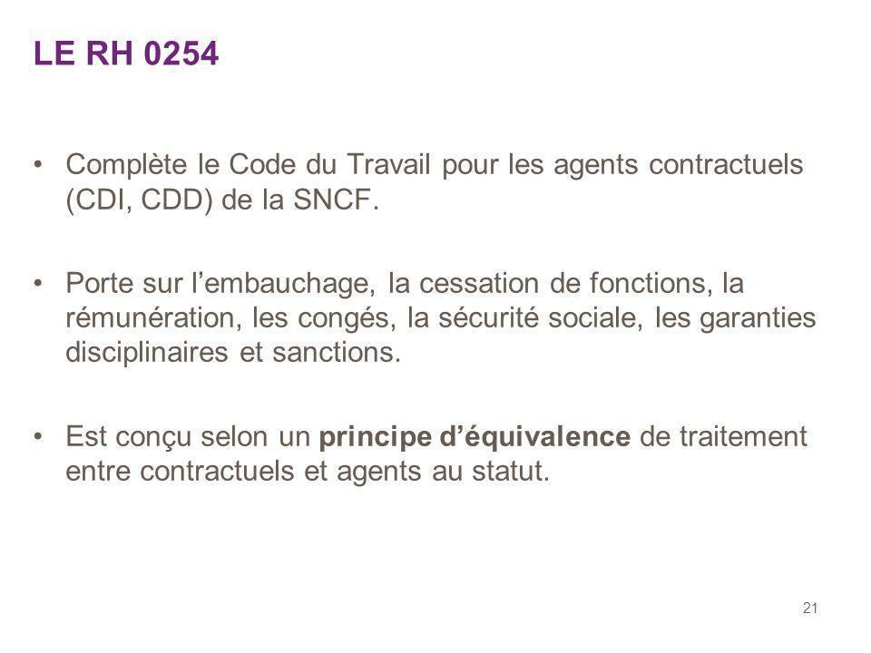 21 LE RH 0254 Complète le Code du Travail pour les agents contractuels (CDI, CDD) de la SNCF. Porte sur lembauchage, la cessation de fonctions, la rém