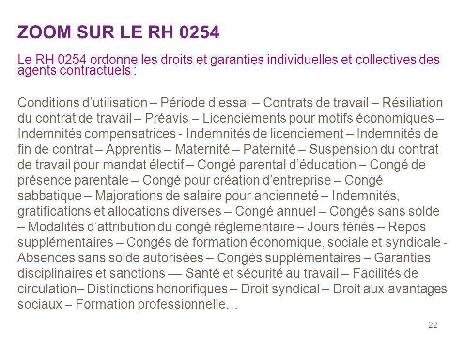 22 ZOOM SUR LE RH 0254 Le RH 0254 ordonne les droits et garanties individuelles et collectives des agents contractuels : Conditions dutilisation – Pér