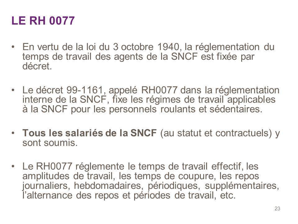 23 LE RH 0077 En vertu de la loi du 3 octobre 1940, la réglementation du temps de travail des agents de la SNCF est fixée par décret. Le décret 99-116