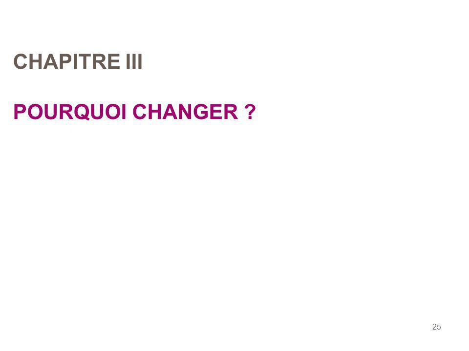 25 CHAPITRE III POURQUOI CHANGER ?