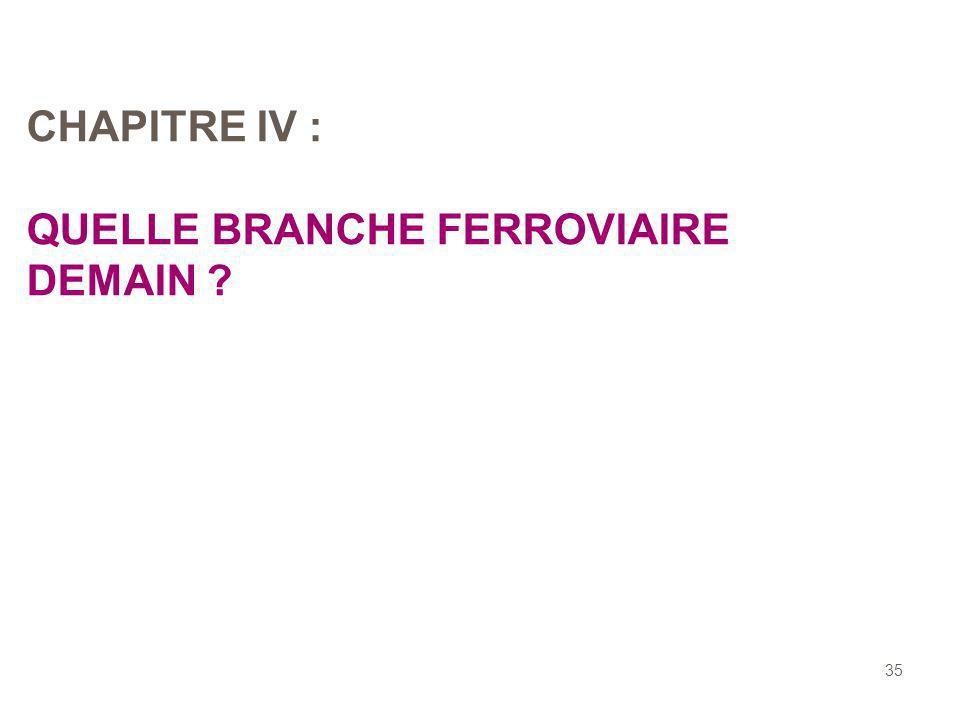 35 CHAPITRE IV : QUELLE BRANCHE FERROVIAIRE DEMAIN ?