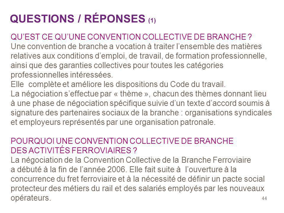 44 QUESTIONS / RÉPONSES (1) QUEST CE QUUNE CONVENTION COLLECTIVE DE BRANCHE ? Une convention de branche a vocation à traiter lensemble des matières re