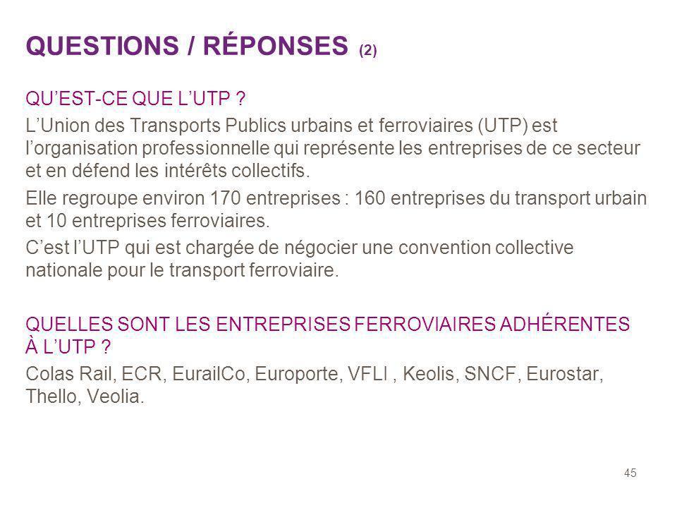 45 QUESTIONS / RÉPONSES (2) QUEST-CE QUE LUTP ? LUnion des Transports Publics urbains et ferroviaires (UTP) est lorganisation professionnelle qui repr