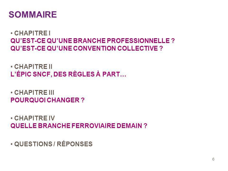 6 SOMMAIRE CHAPITRE I QUEST-CE QUUNE BRANCHE PROFESSIONNELLE .