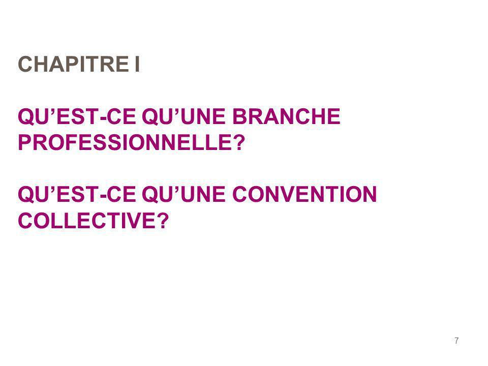 7 CHAPITRE I QUEST-CE QUUNE BRANCHE PROFESSIONNELLE? QUEST-CE QUUNE CONVENTION COLLECTIVE?