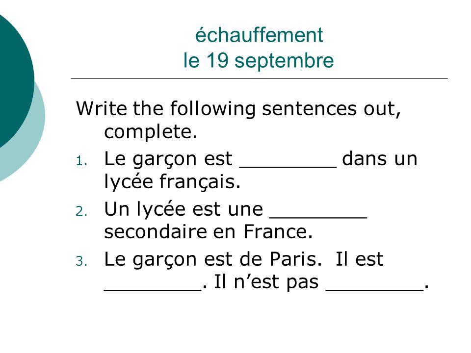 échauffement lundi, le 24 septembre Share your horaire with a partner.