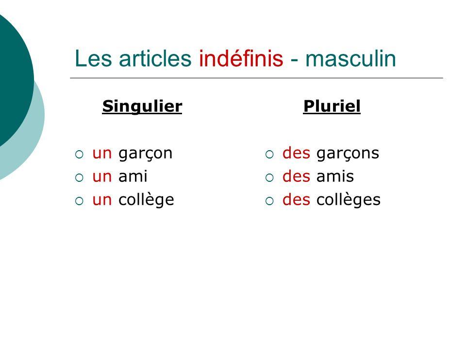 Les articles indéfinis - masculin Singulier un garçon un ami un collège Pluriel des garçons des amis des collèges