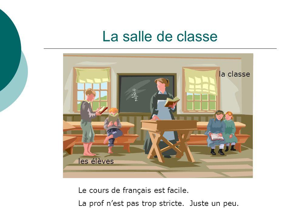 La salle de classe la classe les élèves Le cours de français est facile.