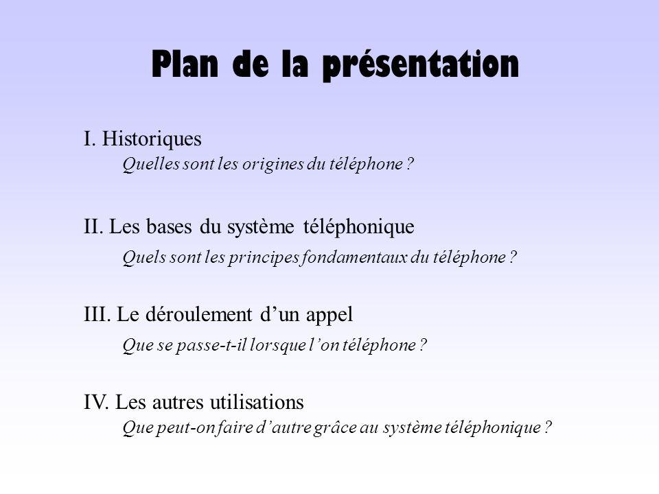 Plan de la présentation I. Historiques Quelles sont les origines du téléphone ? II. Les bases du système téléphonique Quels sont les principes fondame