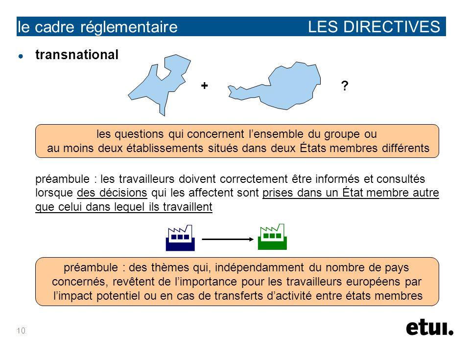 10 le cadre réglementaire LES DIRECTIVES transnational + ? préambule : les travailleurs doivent correctement être informés et consultés lorsque des dé