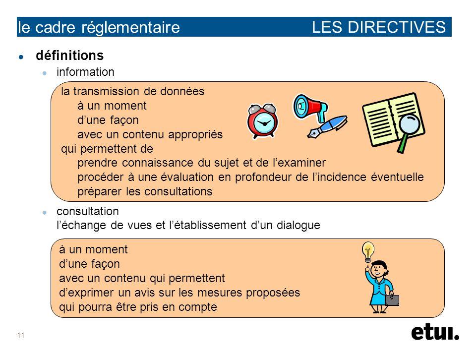 11 définitions information consultation léchange de vues et létablissement dun dialogue le cadre réglementaire LES DIRECTIVES à un moment dune façon a