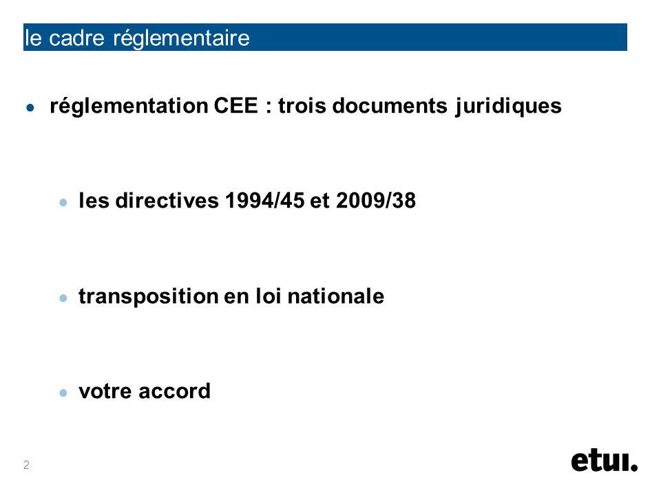 2 réglementation CEE : trois documents juridiques les directives 1994/45 et 2009/38 transposition en loi nationale votre accord