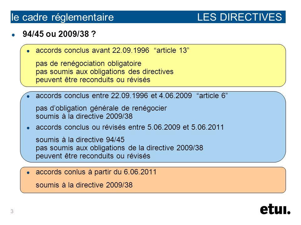 3 le cadre réglementaire LES DIRECTIVES 94/45 ou 2009/38 ? accords conclus avant 22.09.1996 article 13 pas de renégociation obligatoire pas soumis aux