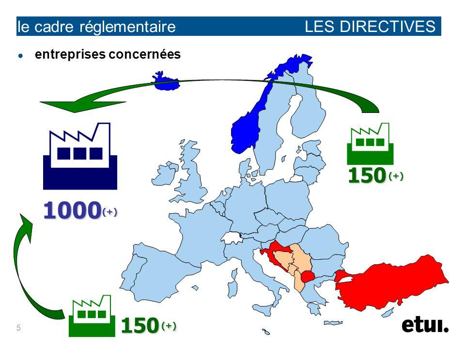 5 le cadre réglementaire LES DIRECTIVES entreprises concernées 150 (+) 150 (+) 1000 (+)