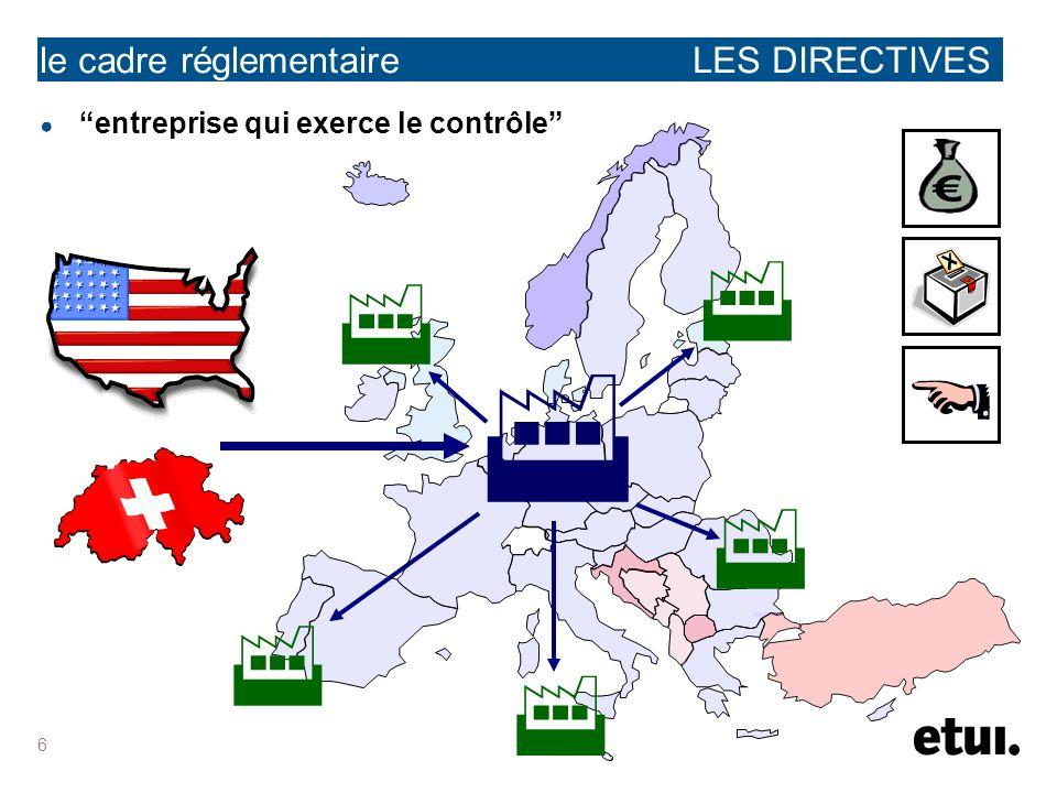 7 le cadre réglementaire LES DIRECTIVES début des négociations et obligation dobtenir et de transmettre aux parties intéressées les informations indispensables à louverture des négociations 100 100 (+) ou GSN