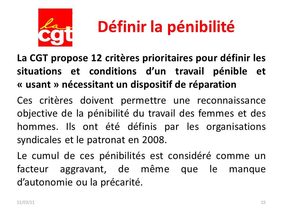 11/03/1115 Définir la pénibilité La CGT propose 12 critères prioritaires pour définir les situations et conditions dun travail pénible et « usant » né