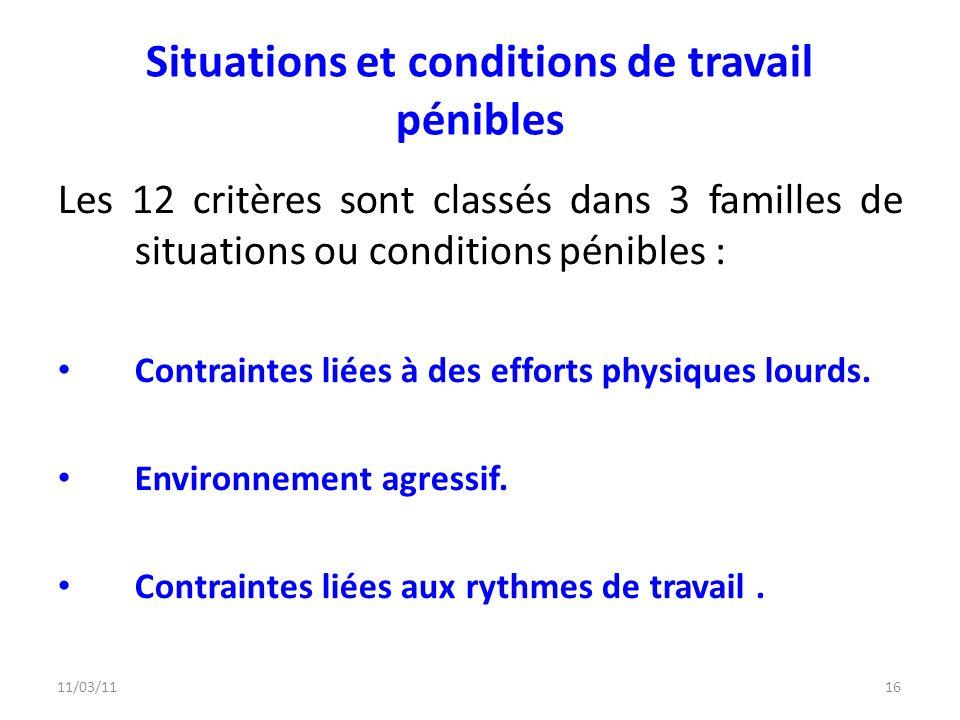 11/03/1116 Situations et conditions de travail pénibles Les 12 critères sont classés dans 3 familles de situations ou conditions pénibles : Contrainte