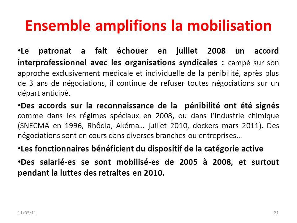 11/03/1121 Ensemble amplifions la mobilisation Le patronat a fait échouer en juillet 2008 un accord interprofessionnel avec les organisations syndical
