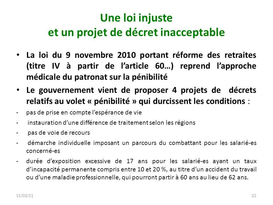 11/03/1122 Une loi injuste et un projet de décret inacceptable La loi du 9 novembre 2010 portant réforme des retraites (titre IV à partir de larticle