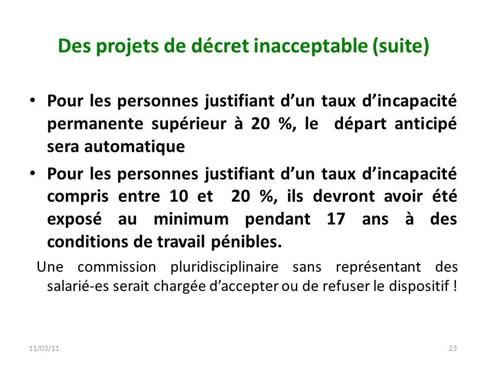 11/03/1123 Des projets de décret inacceptable (suite) Pour les personnes justifiant dun taux dincapacité permanente supérieur à 20 %, le départ antici