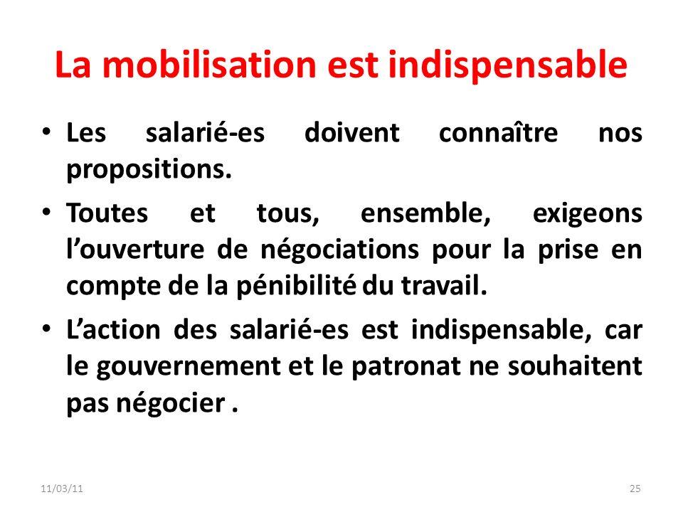11/03/1125 La mobilisation est indispensable Les salarié-es doivent connaître nos propositions. Toutes et tous, ensemble, exigeons louverture de négoc