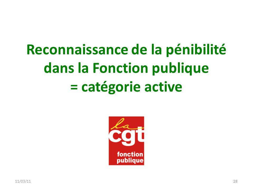 11/03/1128 Reconnaissance de la pénibilité dans la Fonction publique = catégorie active
