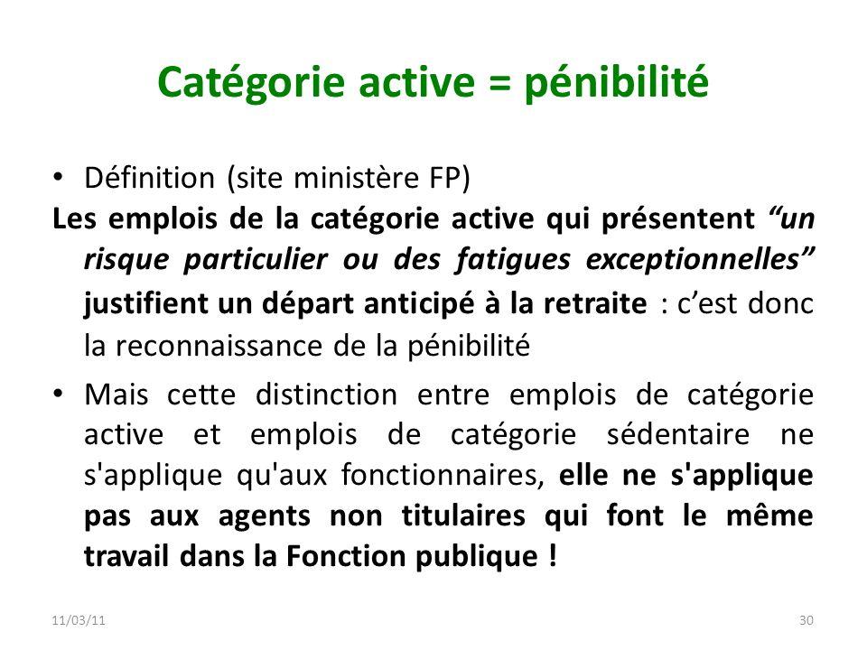 11/03/1130 Catégorie active = pénibilité Définition (site ministère FP) Les emplois de la catégorie active qui présentent un risque particulier ou des
