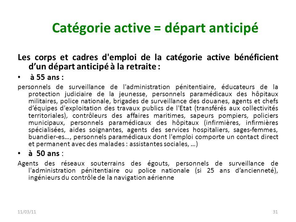 11/03/1131 Catégorie active = départ anticipé Les corps et cadres d'emploi de la catégorie active bénéficient dun départ anticipé à la retraite : à 55
