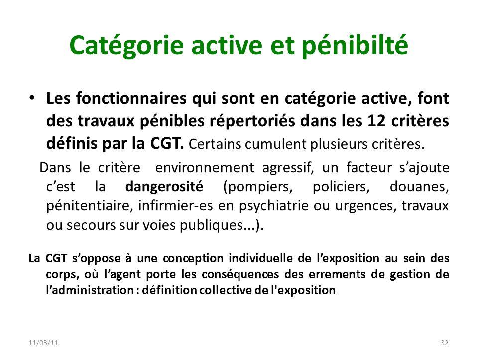 11/03/1132 Catégorie active et pénibilté Les fonctionnaires qui sont en catégorie active, font des travaux pénibles répertoriés dans les 12 critères d