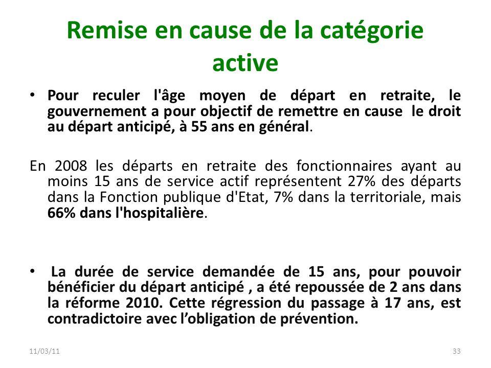 11/03/1133 Remise en cause de la catégorie active Pour reculer l'âge moyen de départ en retraite, le gouvernement a pour objectif de remettre en cause