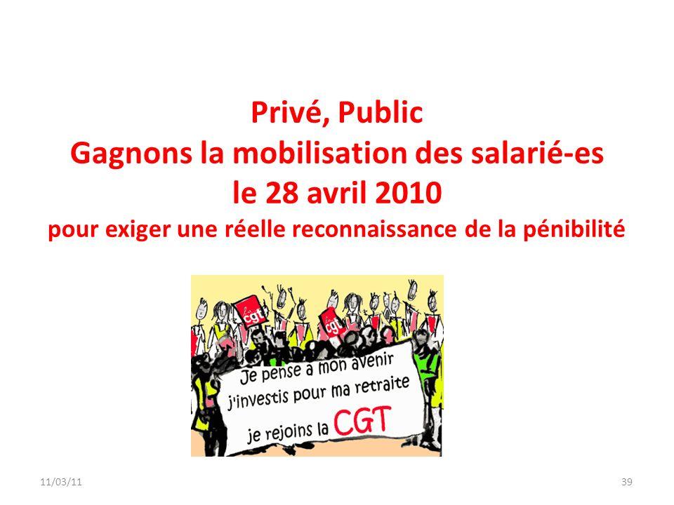11/03/1139 Privé, Public Gagnons la mobilisation des salarié-es le 28 avril 2010 pour exiger une réelle reconnaissance de la pénibilité