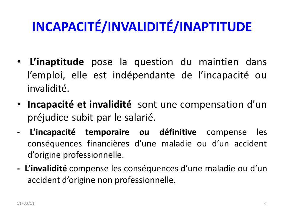 11/03/114 INCAPACITÉ/INVALIDITÉ/INAPTITUDE Linaptitude pose la question du maintien dans lemploi, elle est indépendante de lincapacité ou invalidité.