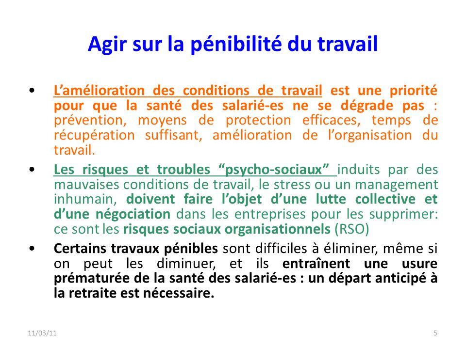 11/03/115 Agir sur la pénibilité du travail Lamélioration des conditions de travail est une priorité pour que la santé des salarié-es ne se dégrade pa