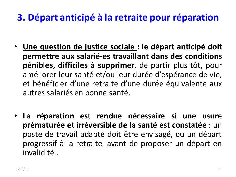 11/03/119 3. Départ anticipé à la retraite pour réparation Une question de justice sociale : le départ anticipé doit permettre aux salarié-es travaill