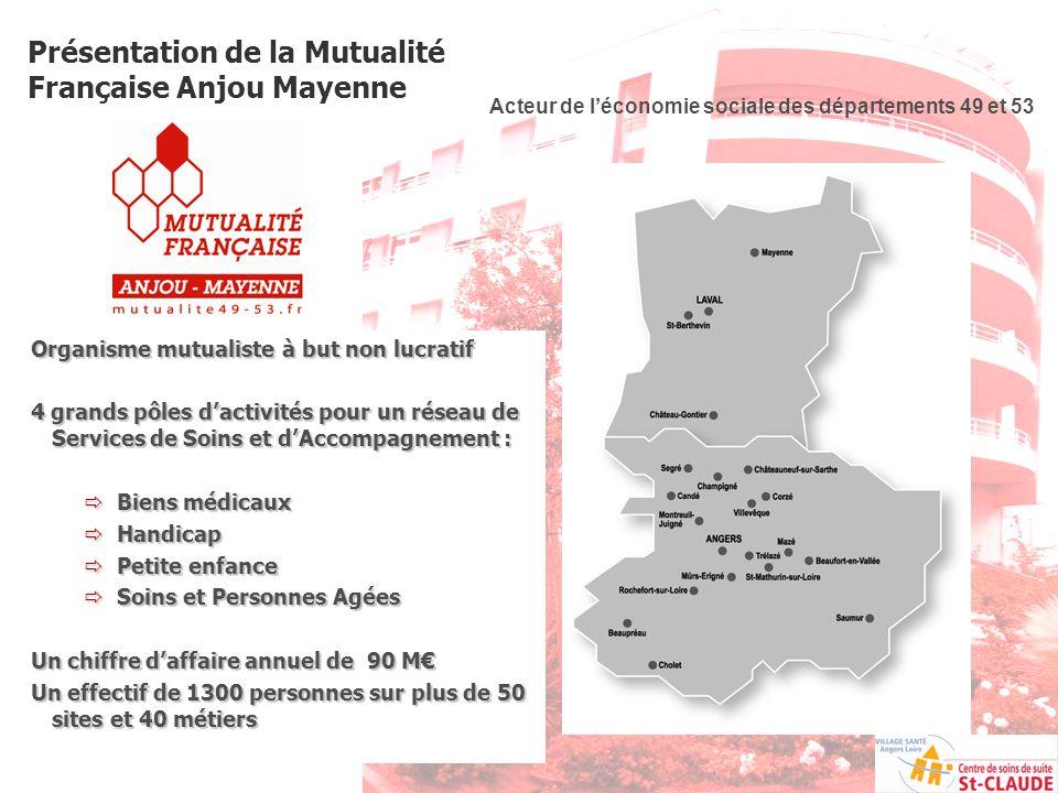 Présentation de la Mutualité Française Anjou Mayenne Acteur de léconomie sociale des départements 49 et 53 Organisme mutualiste à but non lucratif 4 g