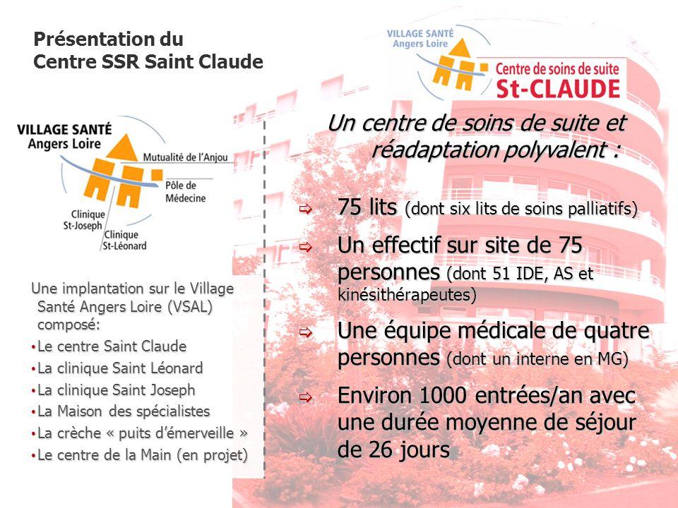 Présentation du Centre SSR Saint Claude Une implantation sur le Village Santé Angers Loire (VSAL) composé: Le centre Saint Claude Le centre Saint Clau