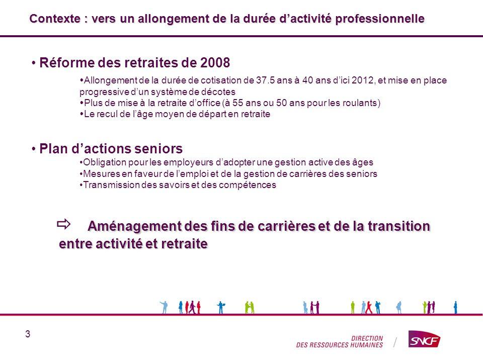 3 Contexte : vers un allongement de la durée dactivité professionnelle Réforme des retraites de 2008 Allongement de la durée de cotisation de 37.5 ans